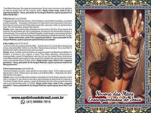 Oração Novena das Mãos Ensanguentadas - 10x14 cm