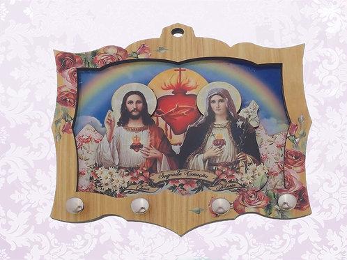 Porta Chaves Sag. Cor. Jesus e Maria (04 pinos)