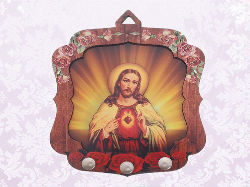 Porta Chaves Sagrado Coração (03 pinos)