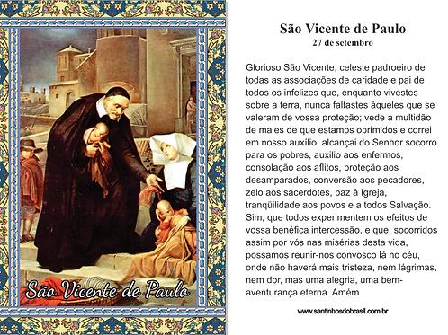 Santinhos São Vicente de Paulo - 7x10 cm