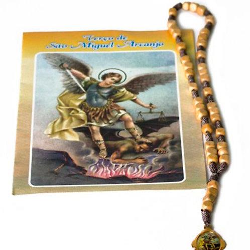 Terço Marfim São Miguel Arcanjo + 01 Cartão com Oração