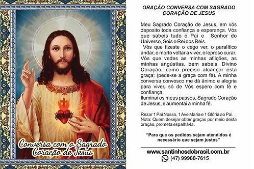 Oracao Conversa Sagrado Coracao de Jesus - Santinhos