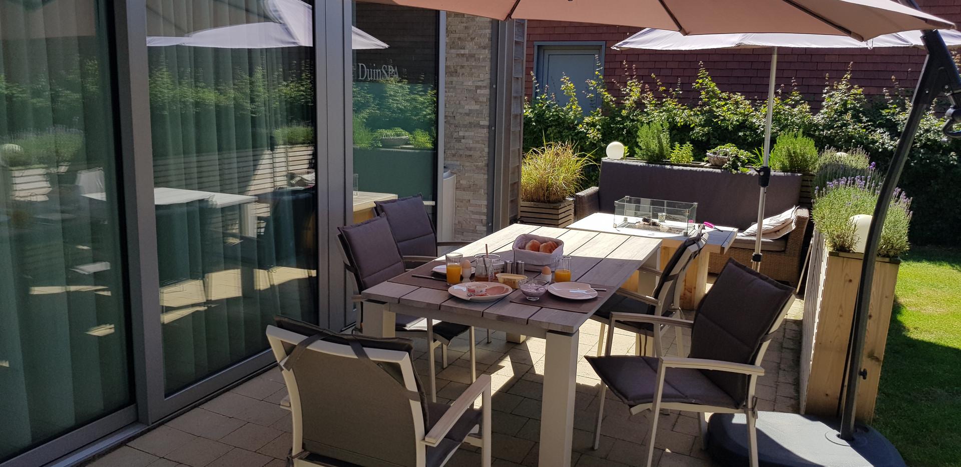 Terrasse Essensbereich Ferienwonhnung Bonnies