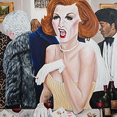 "Art reproduction of ""Cleo at the Club"" by Lauren Cunningham, produced by All About Images"