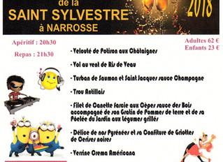 """Réveillon de la Saint Sylvestre 2018 Narrosse (40) """"salle des fêtes""""                 Animé"""
