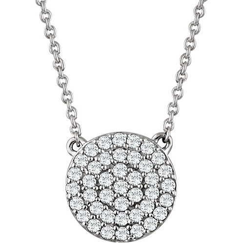 14kt White 0.33 CTW Diamond Cluster Necklace