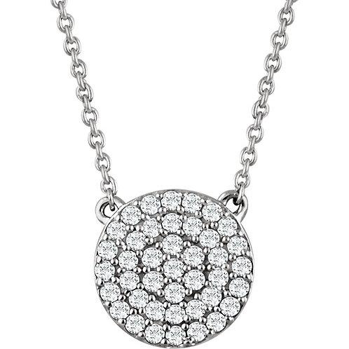 14kt White 0.33 CTW Diamond Cluster Necklace