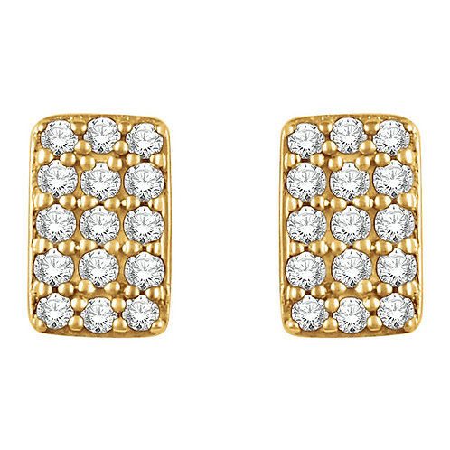 14kt W.G 0.15 ct Diamond Rectangle Earrings