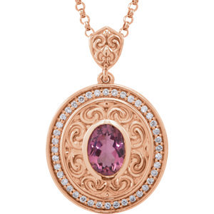 14kt. Rose Gold Tourmaline And Diamond Necklace