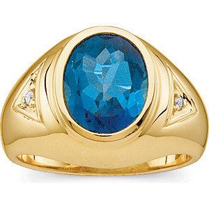 14kt. Y.G. London Blue Topaz & Diamond Ring