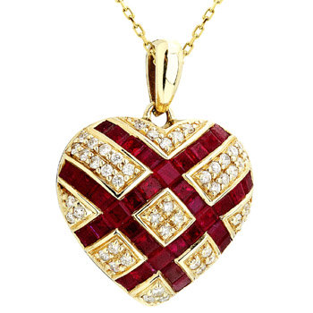 14kt. Y.G. 0.35 ct Diamond And Ruby Pendant