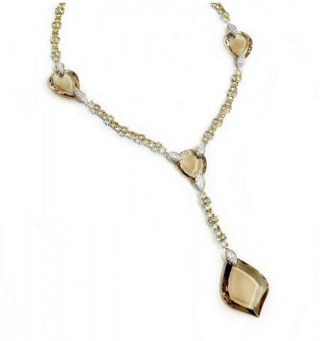 18kt. W.G. Smoke Topaz And Diamonds Necklace