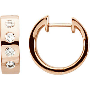 14kt. Rose G. Diamond Hoop Earrings