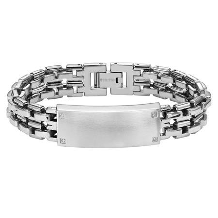 Stainless Steel ID Bracelet with diamond accents