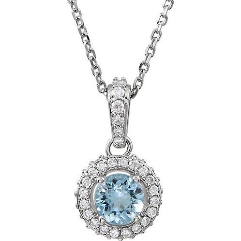 14kt. W.G. Aquamarine  And Diamond Necklace