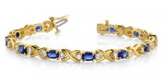 14kt. Y.G. Blue Sapphire And Diamond Bracelet