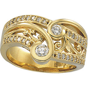 14kt. W.G 0.50ct. Right Hand Diamond Ring