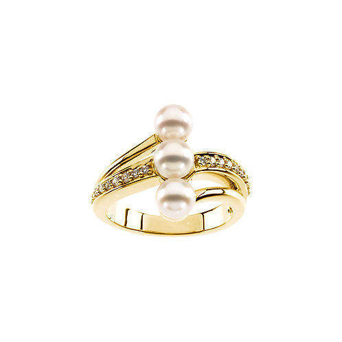 14kt. Y.G. Pearl And Diamond Ring