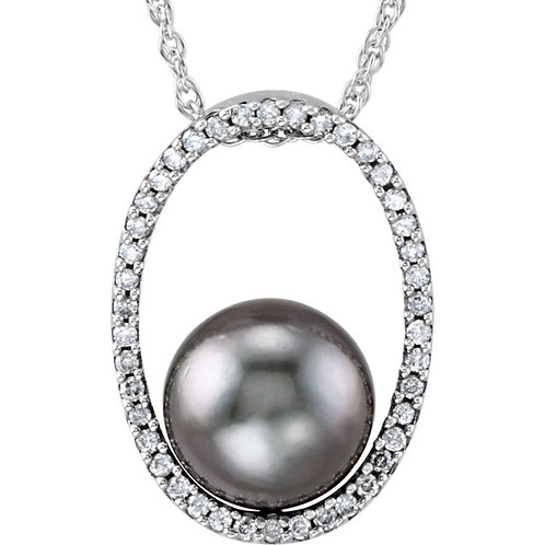 14kt. W. G. Diamond And Pearl Necklace