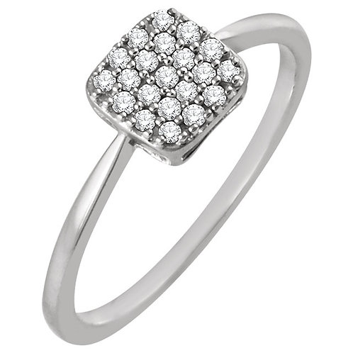 14kt White 0.16 ct Diamond Square Cluster Ring