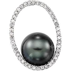 14kt. W.G. Diamond And Tahitian Pearl