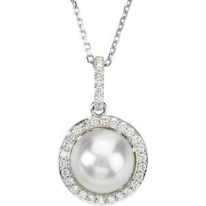 14kt. W.G. Pearl And Diamond Necklace