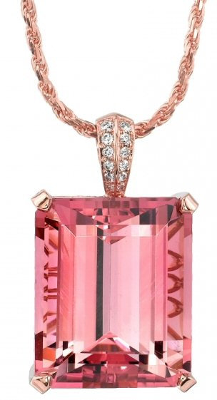 18kt. Y.G. Diamond And Pink Tourmaline Pendant