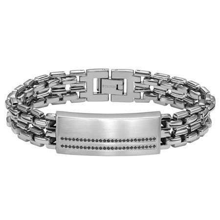 Stainless Steel ID Bracelet with black diamond acc
