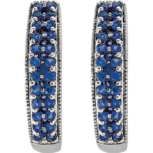 14kt. Blue Sapphire Hoop Earrings