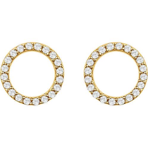 14kt W.G 0.15 ct Diamond Circle Earrings