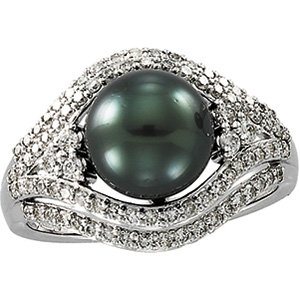 14kt. W.G. Tahitian Pearl & 0.62 Diamond Ring