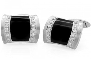 18kt. W.G. 0.23 ct Diamond And Onyx Cufflink