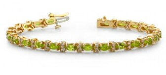 14kt. Y.G. Peridot And Diamond Bracelet