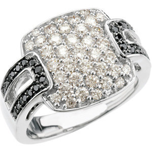 14kt. WG 1.25cts. Black And White Diamond Ring