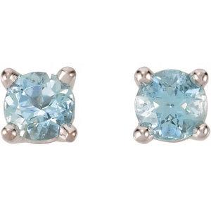 14kt. White or Yellow Birthday-Stone Earrings
