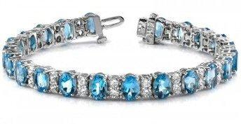 14kt W.G. Blue Topaz And 1.98 ct Diamond Bracelet