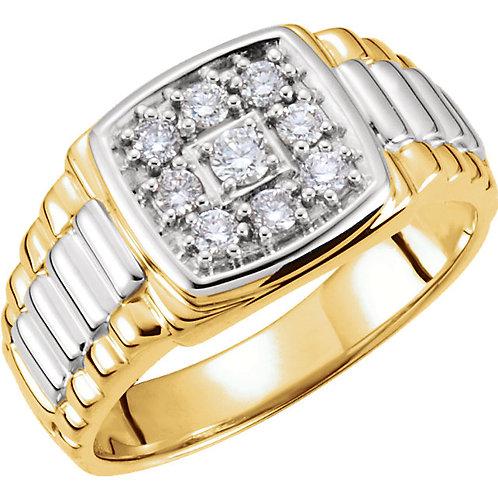 14kt. Tu-Tone 0.37 ct Diamond Men's Ring