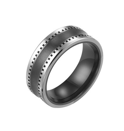 8mm Black Ceramic w/ Tungsten Carbide Band