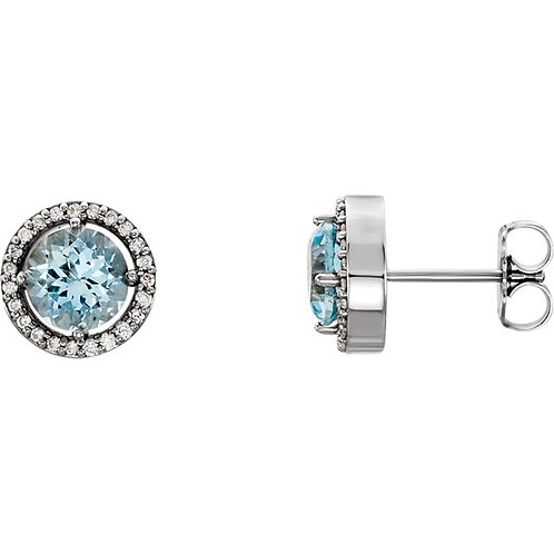 14kt. WG Aquamarine And Diamond Earrings