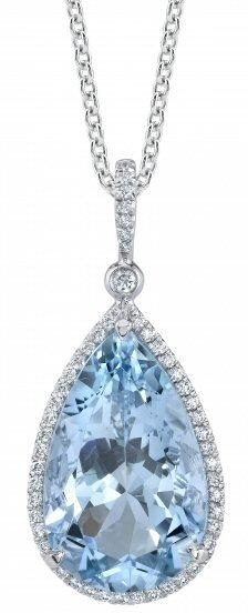 Platinum 01.35 ct Diamond And Aquamarine