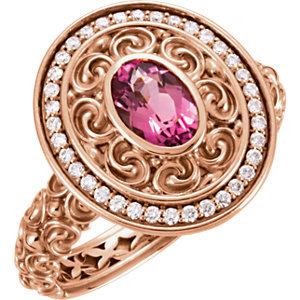 14 kt. Rose Diamond And  Tourmaline Ring