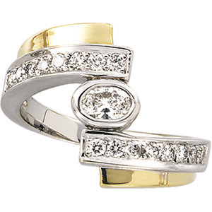 14kt. Tu-Tone 0.75ct. Diamond Right Hand Ring
