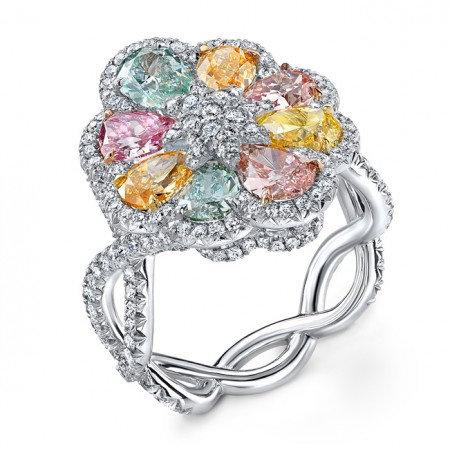 Multicolored Diamond Stone Ring