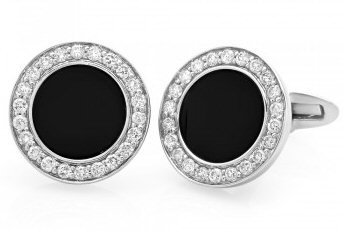 18kt. W.G. 0.89 ct Diamond And Onyx Cufflink