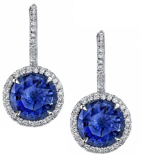 Platinum Shapphire And Diamond Earrings