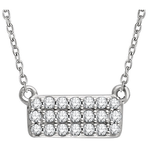 14kt W.G. 0.16 ct Diamond Rectangle Necklace