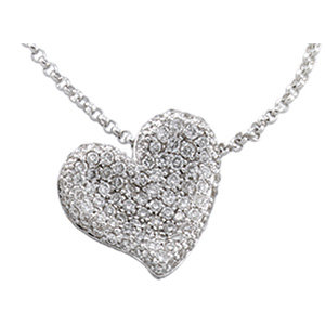 14kt. W.G. Diamond Heart Necklace