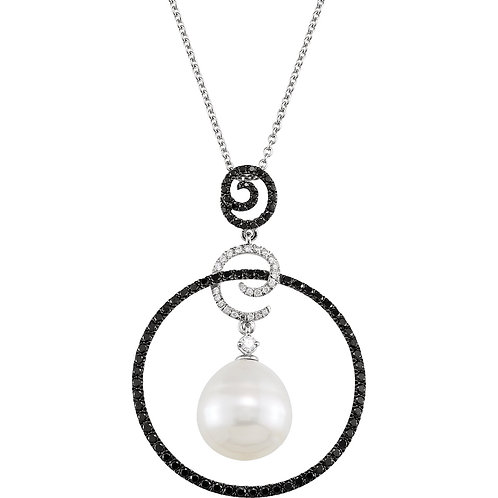 14kt. W.G Pearl And Diamonds