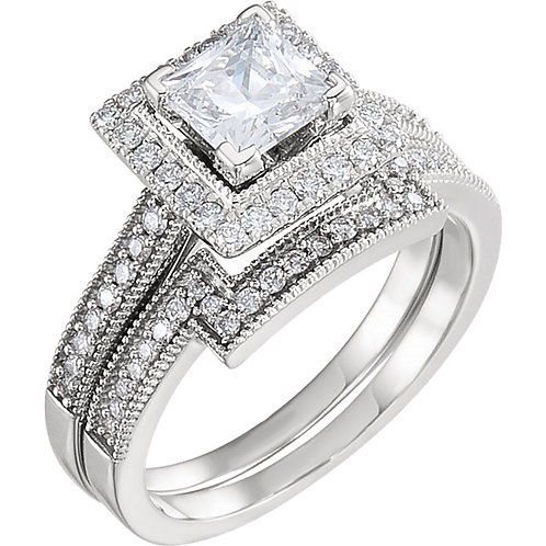 14k W.G 0.25 ct Diamond Engagement Ring