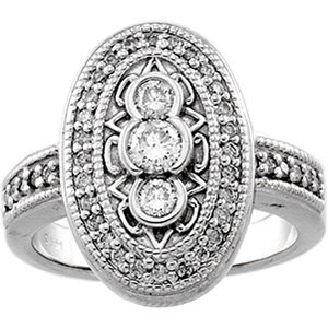14 Kt. W.G. 0.65 cts. Diamond Right Hand Ring